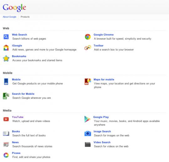 Google services menu
