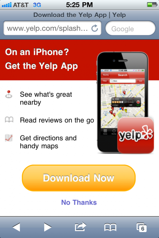 Intervention: Yelp Mobile Won't Stop Selling the App—But I Already